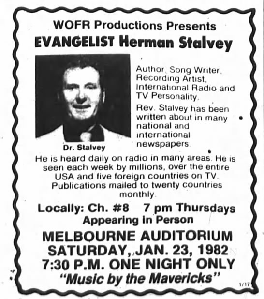 Herman Stalvey ... 23 Jan 1982 - WOFR Productions Presents EVANGELIST Herman...