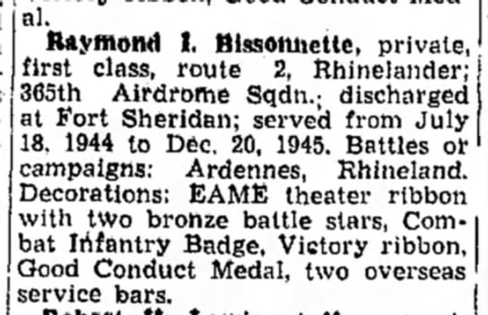 Raymond Bissonnette - Medal. Raymond t. Blssoniiette, private, first...