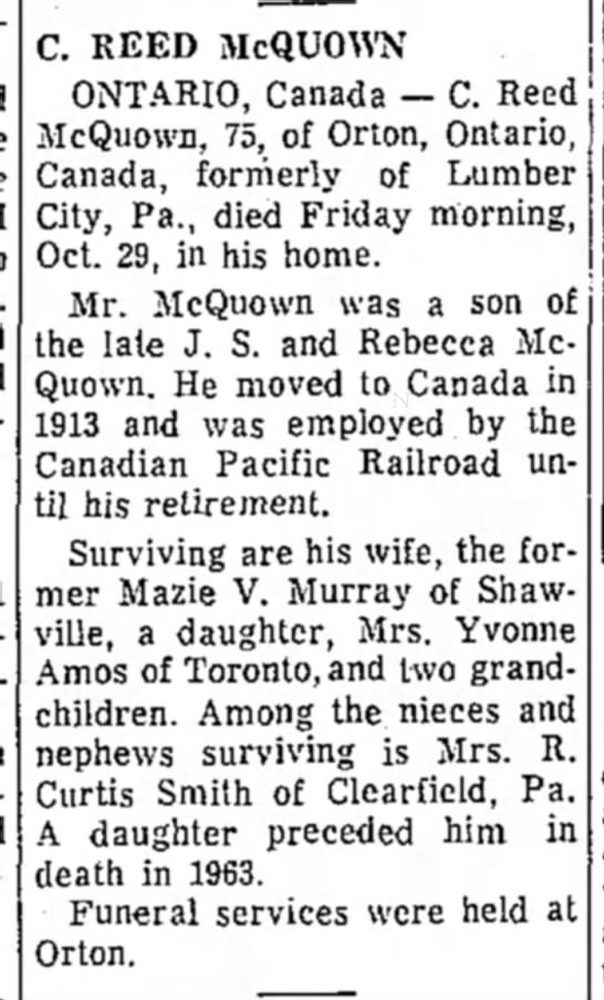 Obituary, C R McQuown - C. REED McQUOWN ONTARIO, Canada — C. Reed...