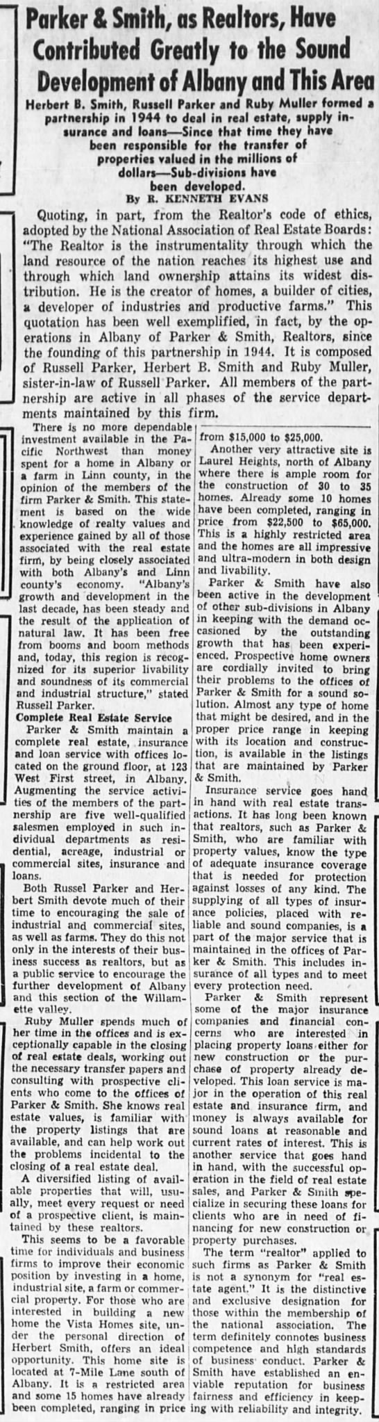 1953-11-28 Big article abt Parker and Smith - Parker & Smith, as Realtors, Have Contributed...
