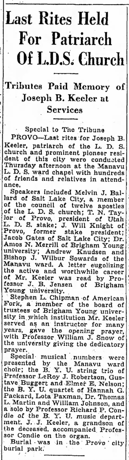 Joseph Brigham Keeler - Death Notice - Last Rites Held For Patriarch Of LD.S. Church...