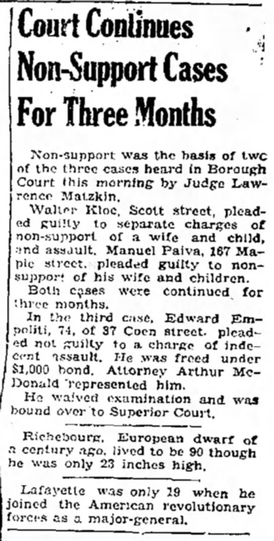 Naugatuck Daily News, August 29, 1952.  Edward Empoliti in court. - Court Continues Non-Support Cases For Three...