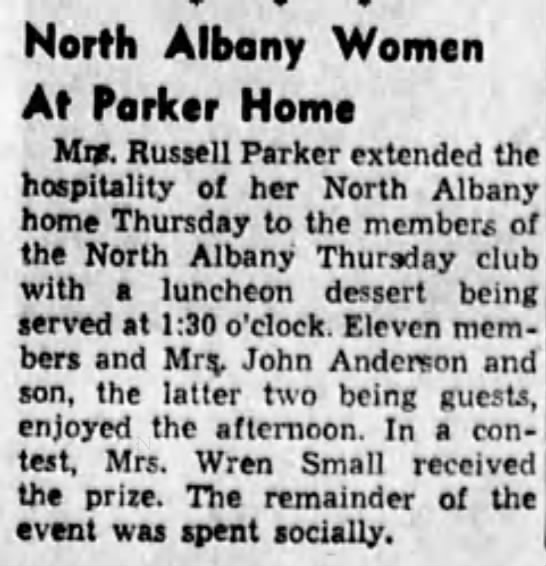 1953-3-7 Jessie hosts NAThuC - . North Albany Women At Parker Home ' Mn....