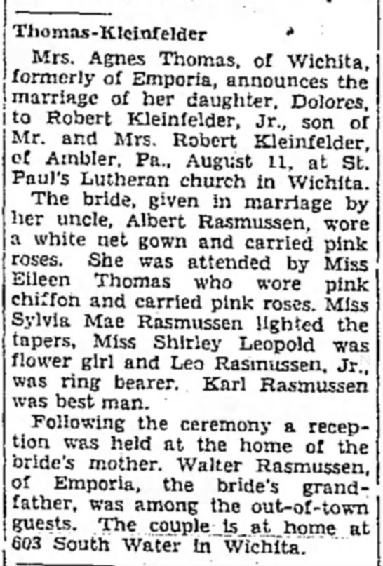 Thomas - Kleinfelder marriage