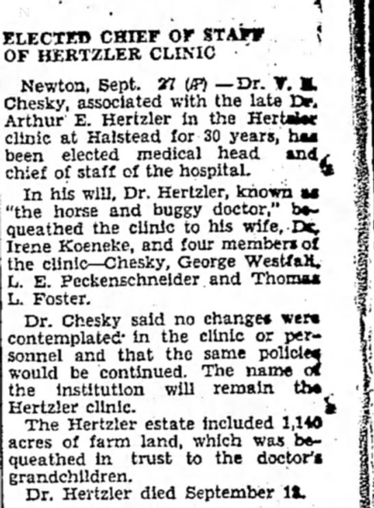 - ELECT!» CHIEF OF STAFF OF HERTZLER CLINIC...