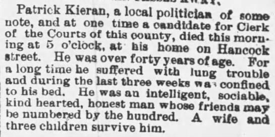 Patrick Kieran Obituary - Oct 5, 1888 - Patrick Kieran, a local politiciaa of some...