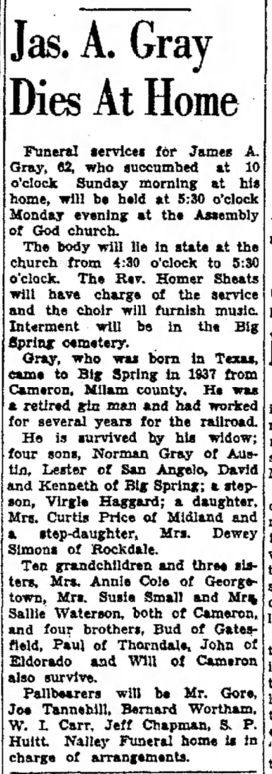 gray jas a 1943 - Jas. A. Gray Dies At Home Funeral lervice* for...