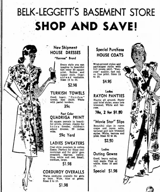 Kenrose1Oct1947AdDanvilleVaTheBee - BELK-LEGGETTS BASEMENT STORE SHOP AND SAVE! New...