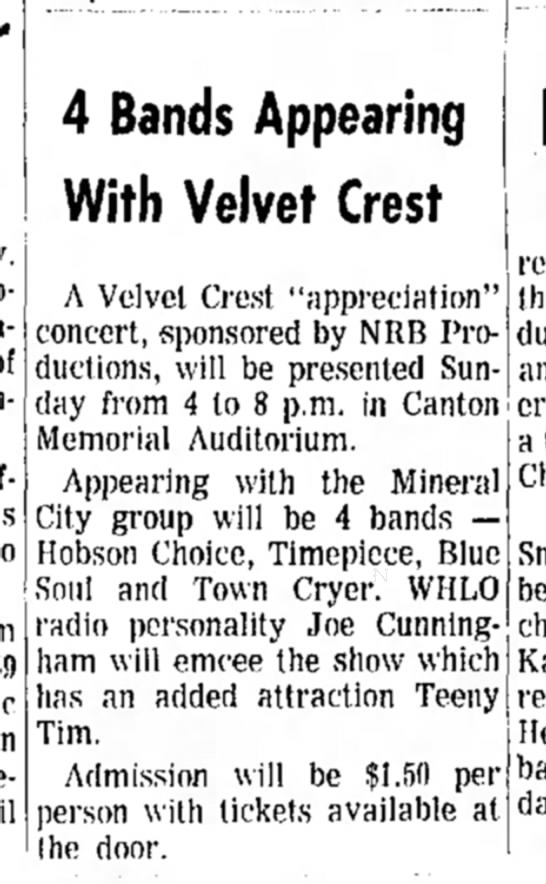 Dover Daily Reporter April 2 1969 DONE - 4 Bands Appearing With Velvet Crest A Velvet...