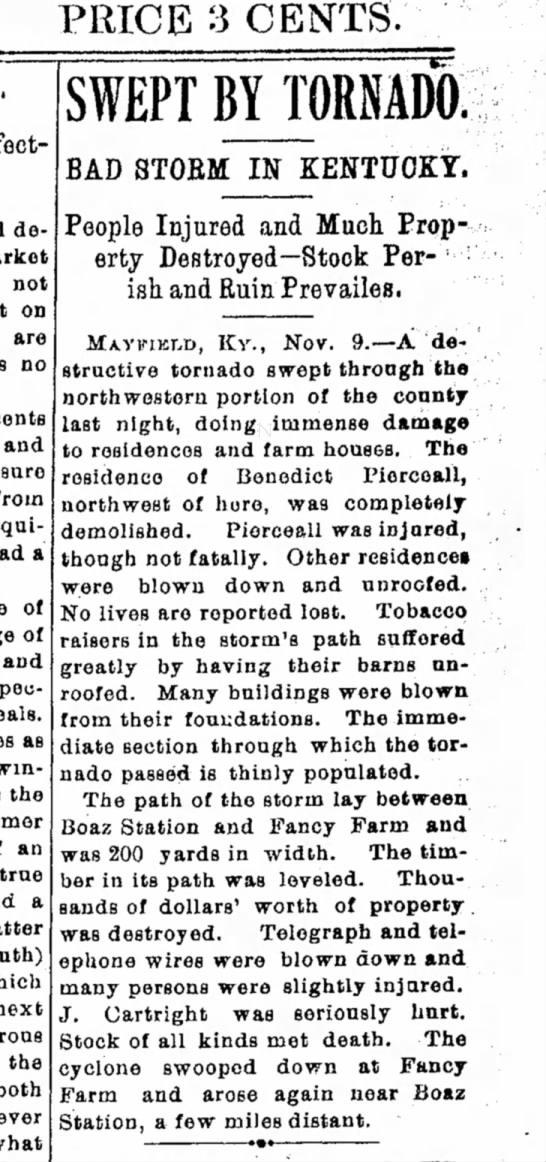 Xenia Daily Gazette 11/10/1897 Benedict Pierceall injured in tornado - PRICE 3 CENTS. decline not on are no cents and...