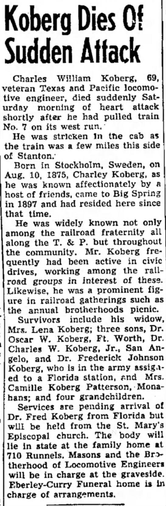 Charley Koberg obit - Koberg Dies Of Sudden Attack Charles William...