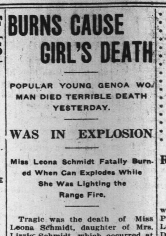 - BURNS CAUSE ; GIRL'S DEATH POPULAR YOUNG. GENOA...