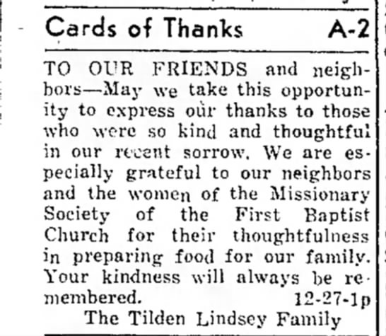 Tilden Lindsey Family Thank You - Cards of Thanks A-2 TO OUR FRIENDS and...