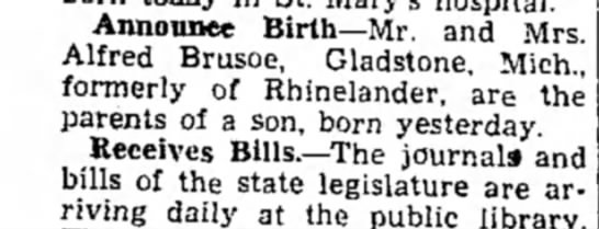 - Announce Birth—Mr. and Mrs. Alfred Brusoe,...