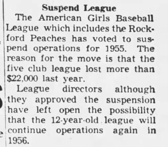 American Girls Baseball League suspended, 1955 - Suspend League The American Girls Baseball...