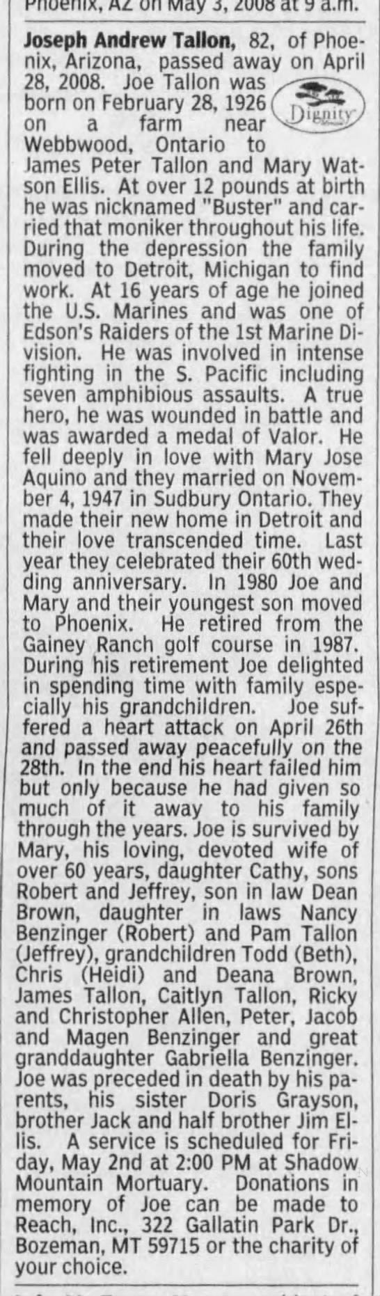 joseph peter tallon born in webbwood Ontario 1926 relation? - pnoenix, az on May 3, 2008 at 9 a.m. Joseph...