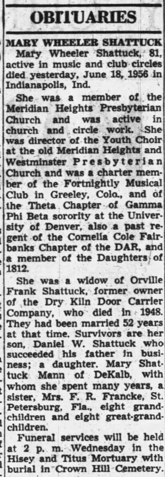 Mary Wheeler Shattuck Obituary - OB1TU ARIES MABY WHEELER SHATTUCK Mary Wheeler...