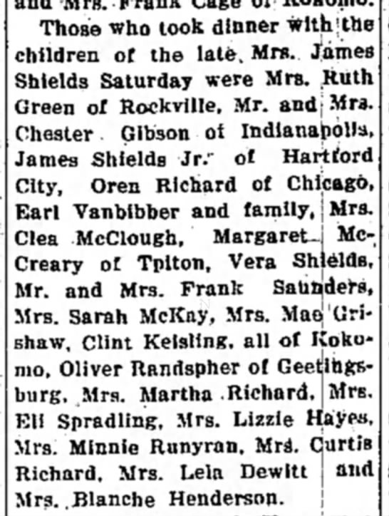 Tipton Trib, Tipton, IN 5 Oct 1934 - Those who took dinner with | the children of...