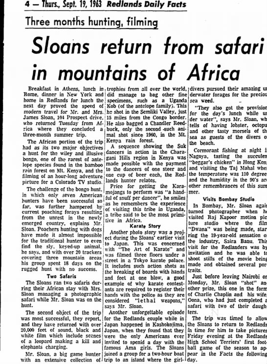 Sloans return from safari in mountains of Africa - 4 - Than, Sepf. 19, 1963 Redlands Daily Facts...