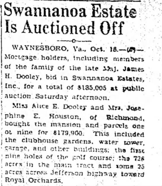 The Bee (Danville, Virginia) 18 October 1935  Page 7 - j J I Swannanoa Estate Is Auctioned Off...