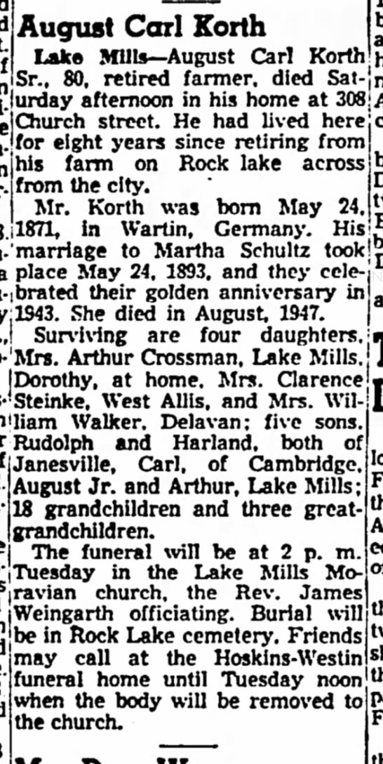 Korth, August Carl obit