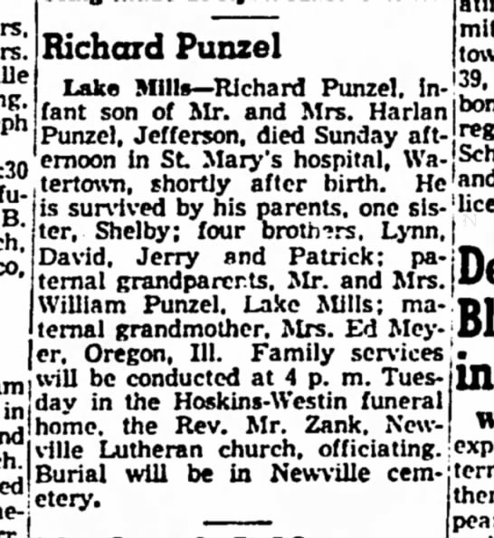 Punzel, Richard obit