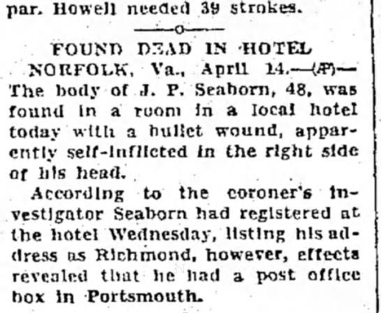 seaborn, j. p. - par. Howell needed 39 strokes. FOUND nrSAD IN...
