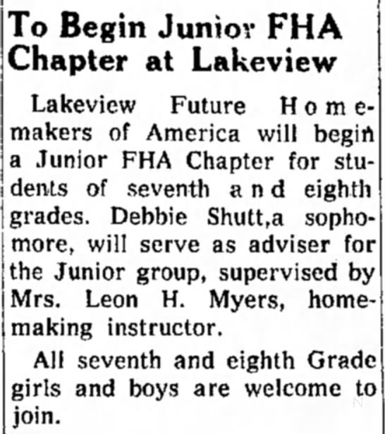Shutt, Debbie - To Begin Junior FHA Chapter at Lakeview...