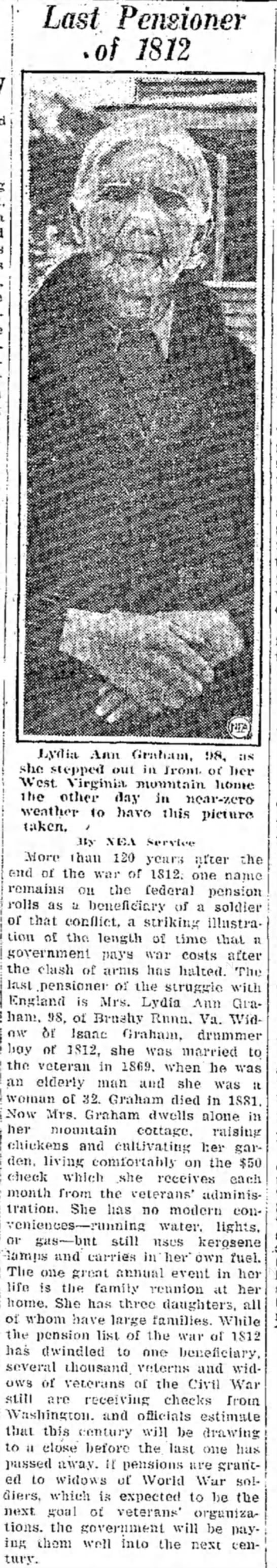 1812 War - last one to receive a pension was 98 yrs old - | i j ' Last Pensioner .of 1812 Jjydta Ann...