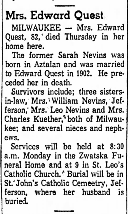Nevins-Quest, Sarah obit sister to William Nevins