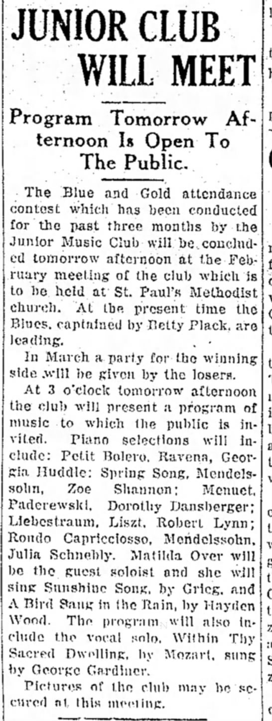 Daily Mail, Hagerstown, Feb 23, 1940 - Program Tomorrow Afternoon Afternoon Is Open To...