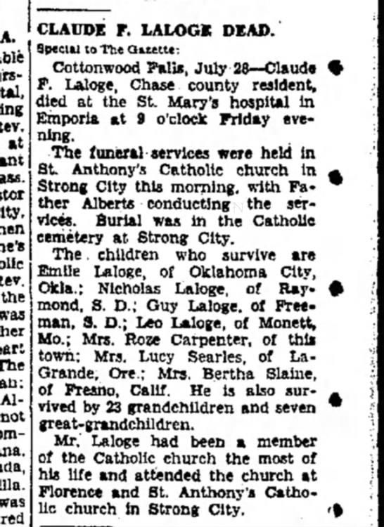 Claude F Laloge obit - at the Albert was CLAUDE F. LALOGC DEAD....