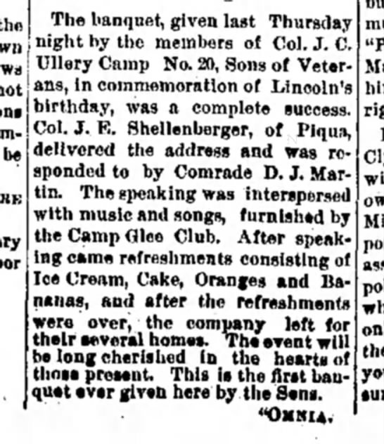 The Miami Helmet (Piqua)20 Feb 1890   page 1 - The banquet, given last Thursday the night by...