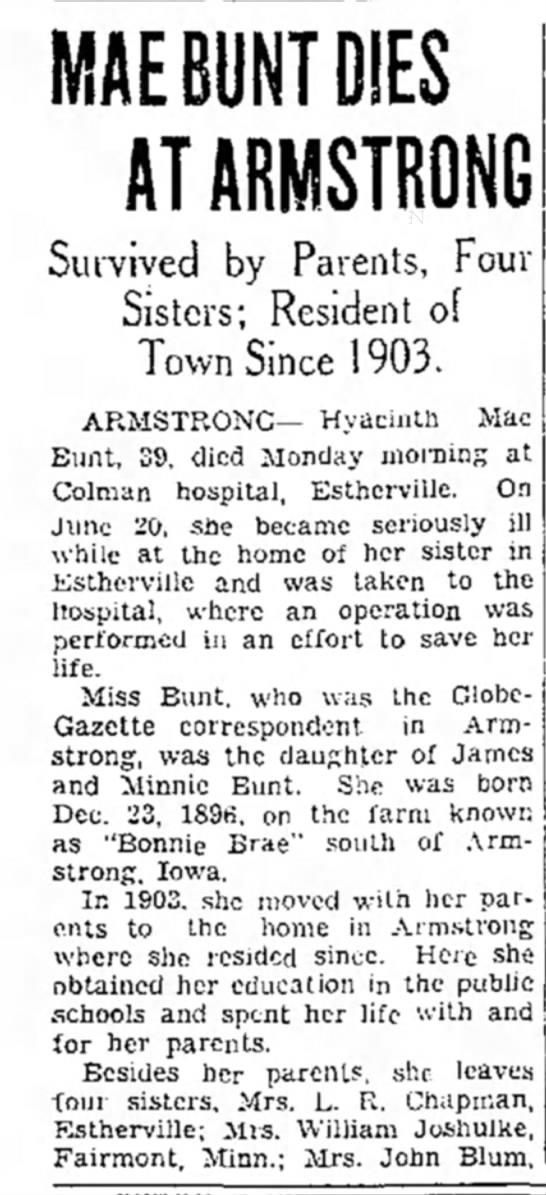 - MAE BUNT DIES AT ARMSTRONG Survived by Parents,...
