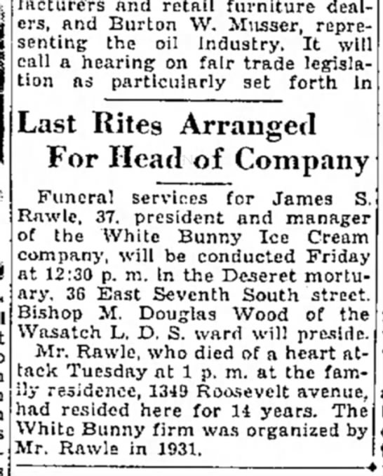 1937 James Simmons Rawlearticle SL Trib Jan 28, p. 2 - manufacturers and retail furniture dealers,...