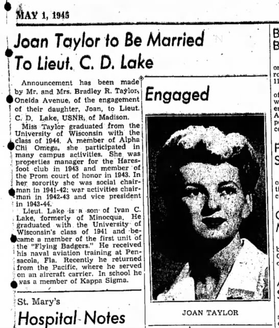 Joan and Icy engagement announcement - RDNews 5-1-45