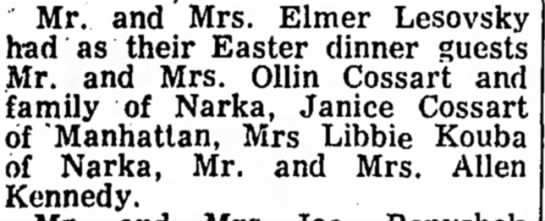 18 April 1963 Telescope - Mr. and Mrs. Elmer Lesovsky had as their Easter...