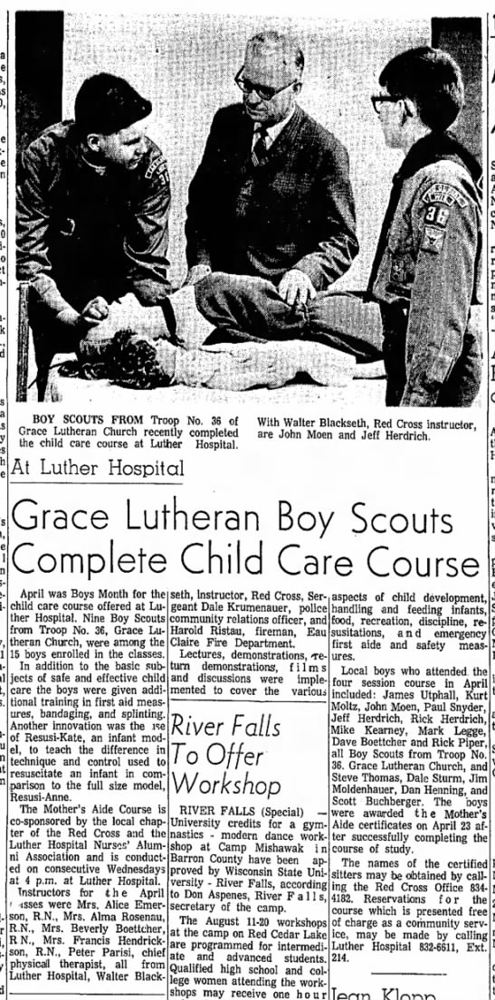 John Moen - Grace Lutheran Boy Scouts Complete Child Care Course - A i 1 i- Grace Lutheran Boy Scouts Complete...
