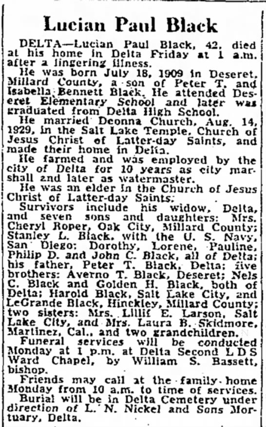 Obit for Stanley L. Black's father in Delta 1952 - Luckm Paul Black DELTA—Lucian Paul Black, 42....