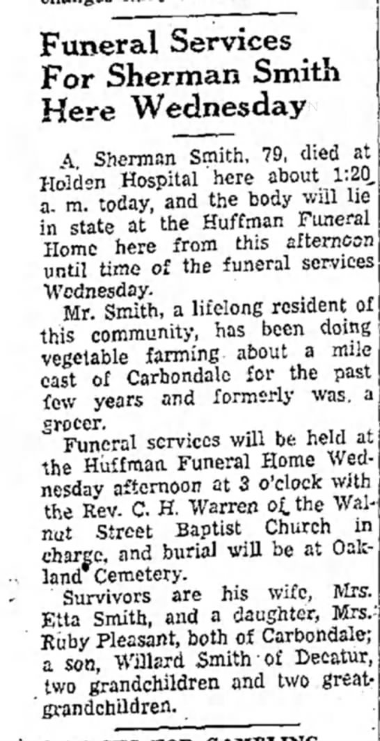 Allen Sherman Smith Funeral Notice