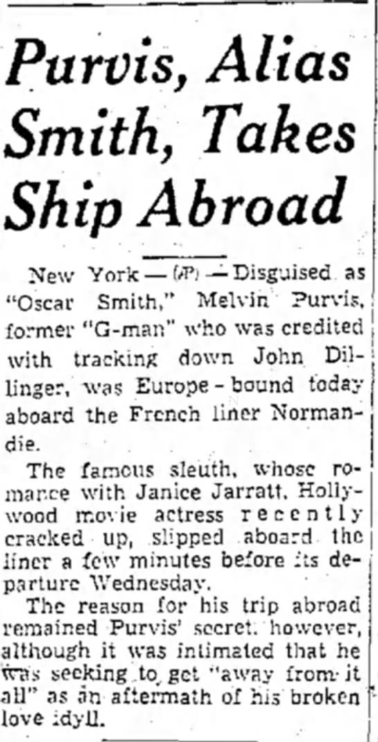 - Purvis, Alias Smith, Takes Ship Abroad New York...