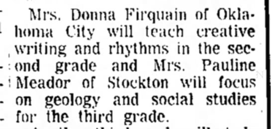 Firquain, Donna (Hays,KS 1965) - on geology and social studies for the third...