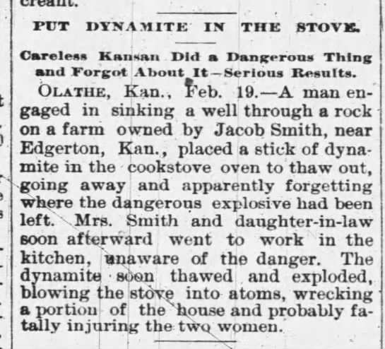 Jacob Smith near Olathe - for- f PPT DYNAMITE II THE STOVE. Carelesa...