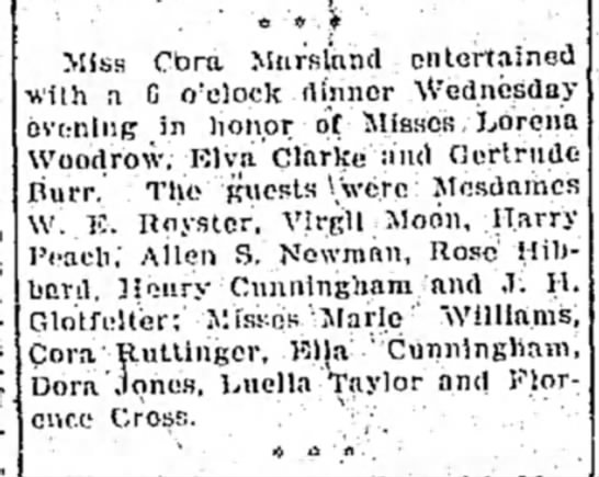 "Cora Ruttinger Saturday 12 March1910; Dinner with Friends - ' '"" *'*.) Miss Miss Cbra Mtirslnnd entertained..."