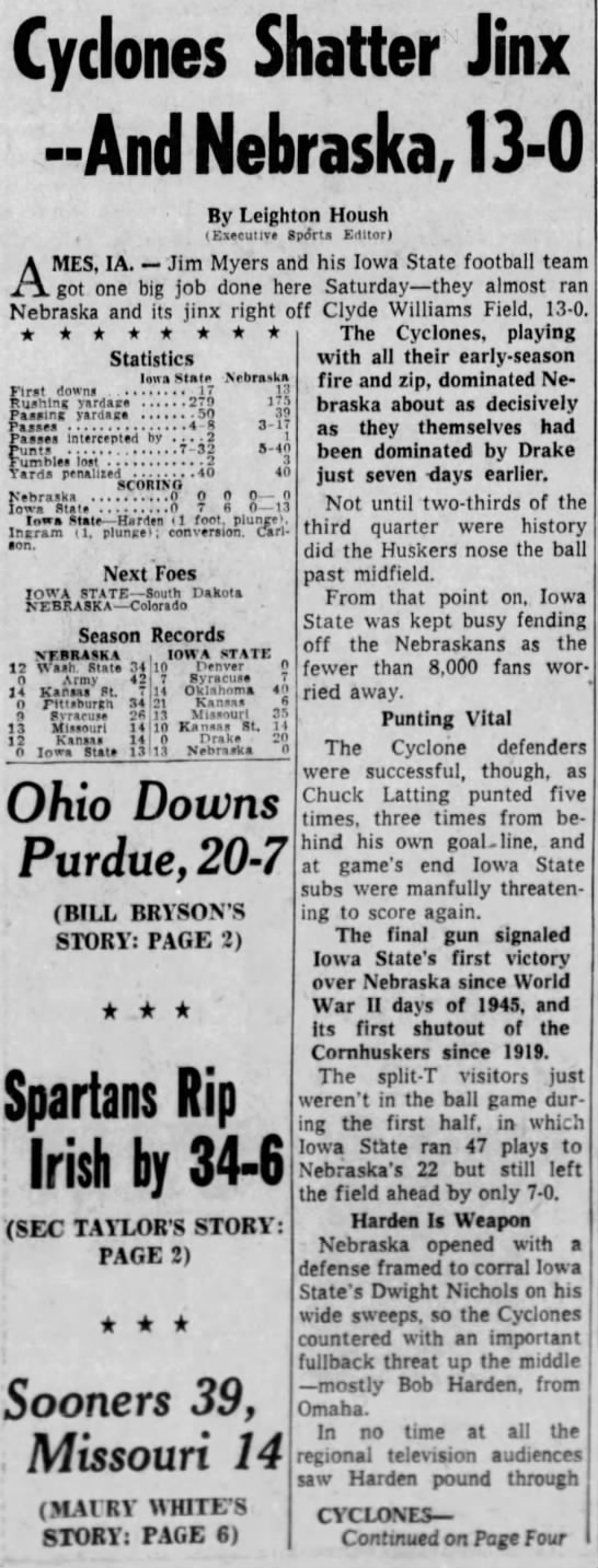 1957 Nebraska-Iowa State part 1 Des Moines - Cyclones Shatter Jinx --And --And --And...