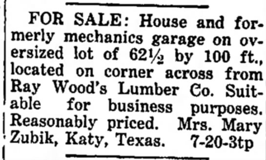 Mary Zubik -- For Sale House and Mechanics Garage - FOR SALE: House and formerly formerly mechanics...