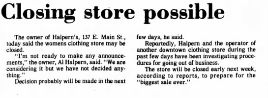 - Closing store possible The owner of Halpern's,...