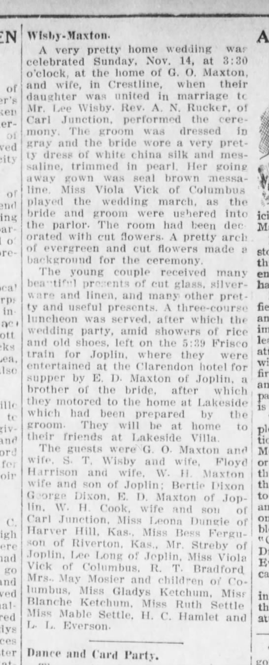 lee wisby and sylvia rye maxton 1915 wedding announcement - of ;il city of party ' previously loia' in nr'...