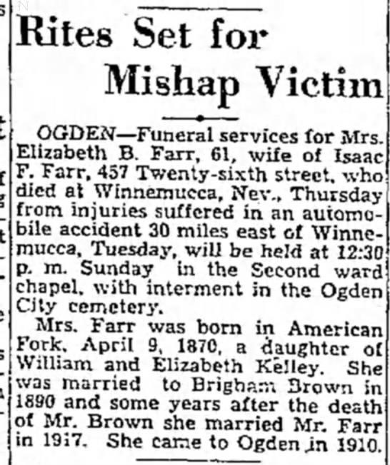 - Rites Set for Mishap Victim OGDEN—Funeral...