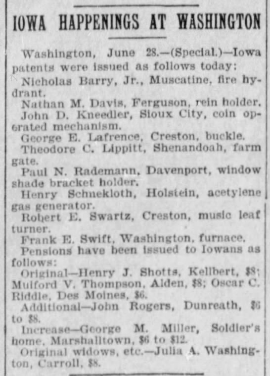 Oscar c riddle - patent Des Moines register 29 jun 1898 - IOWA HAPPENINGS AT WASHINGTON Washington, June...